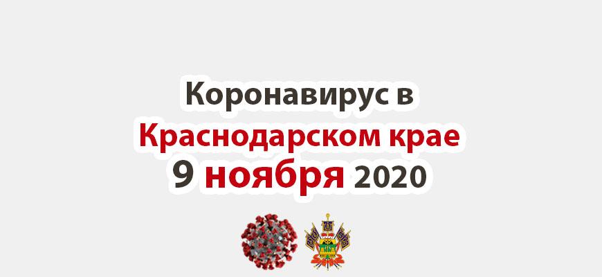 Коронавирус в Краснодарском крае на 9 ноября 2020 года