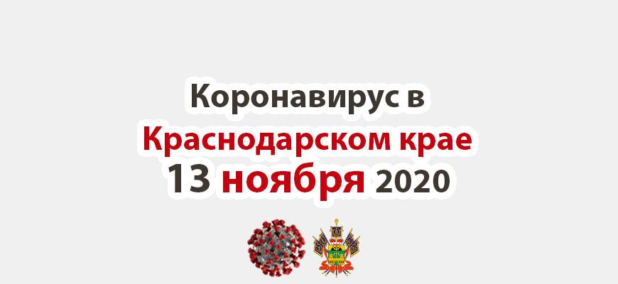Коронавирус в Краснодарском крае на 13 ноября 2020 года