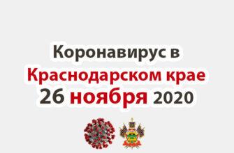 Коронавирус в Краснодарском крае на 26 ноября 2020 года