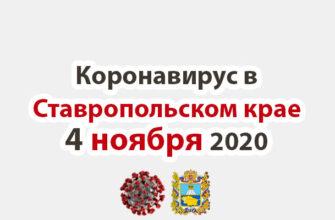 Коронавирус в Ставропольском крае на 4 ноября 2020 года