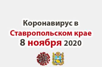 Коронавирус в Ставропольском крае на 8 ноября 2020 года
