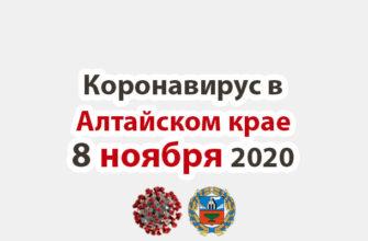 Коронавирус в Алтайском крае на 8 ноября 2020 года