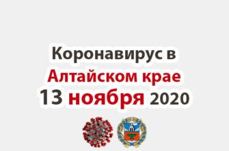 Коронавирус в Алтайском крае на 13 ноября 2020 года