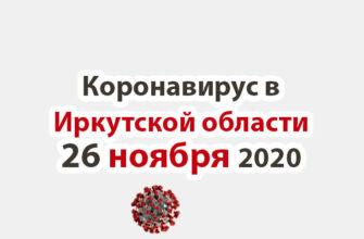 Коронавирус в Иркутской области на 26 ноября 2020 года