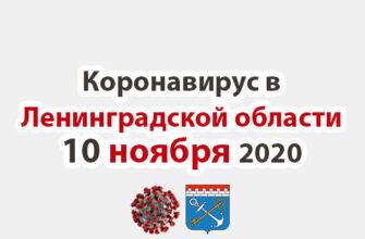 Коронавирус в Ленинградской области на 10 ноября 2020 года
