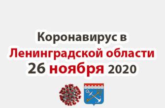 Коронавирус в Ленинградской области на 26 ноября 2020 года