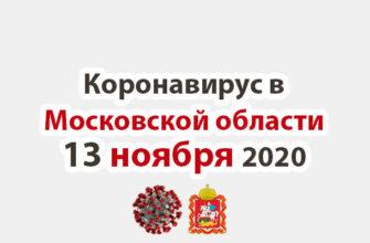 Коронавирус в Московской области на 13 ноября 2020 года