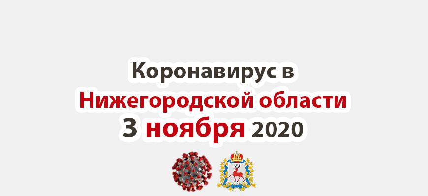Коронавирус в Нижегородской области на 3 ноября 2020 года