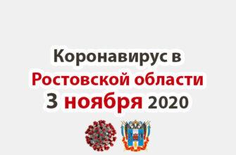 Коронавирус в Ростовской области на 3 ноября 2020 года