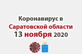 Коронавирус в Саратовской области 13 ноября 2020