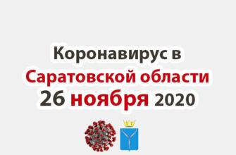 Коронавирус в Саратовской области 26 ноября 2020