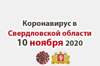 Коронавирус в Свердловской области на 10 ноября 2020 года