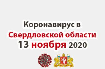 Коронавирус в Свердловской области на 13 ноября 2020 года