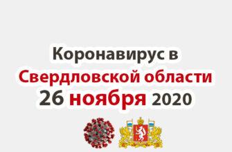 Коронавирус в Свердловской области на 26 ноября 2020 года