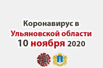 Коронавирус в Ульяновской области 10 ноября 2020
