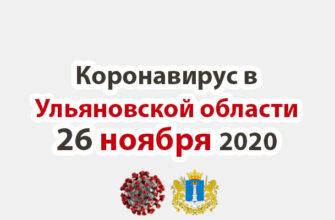 Коронавирус в Ульяновской области 26 ноября 2020