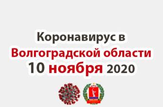 Коронавирус в Волгоградской области 10 ноября 2020