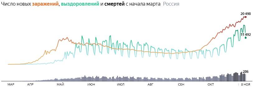 Ситуация с COVID-19 в России по дням статистика в динамике на 8 ноября 2020 года
